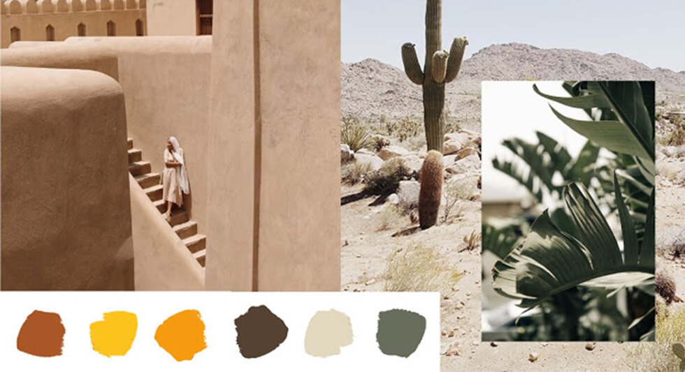 earthen architecture with picture of desert